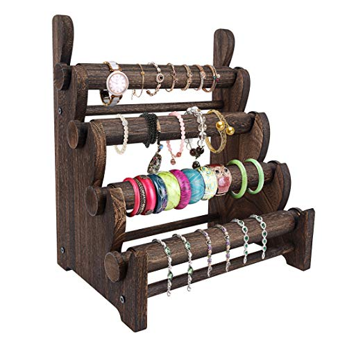 TOPNEW 4 Tier Wooden Bracelet Holder, Bangle Watch Necklace Display Storage Jewelry Holder Stand Display Organizer, Brown