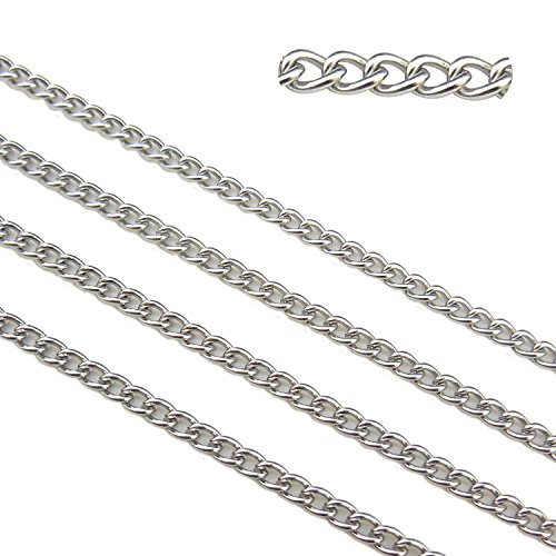 66.6ft Stainless Steel Twisted Cross Curb Chains Findings Fit for Jewelry Making DIY (SC-1010-B)