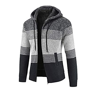 HDGTSA Mens Winter Cardigan Striped Zipper Long Sleeve Hoodie Outwear Tops Sweater Blouse Coats at  Men's Clothing store