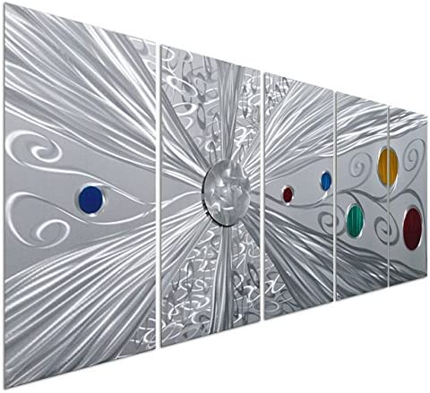 Pure Art Silver Solstice – Metal Wall Art Decor – Abstract Modern Space Silver with Red, Yellow, Green and Blue Circles, Hanging Sculpture – Set of 5 Panels for Your Home or Office – 64 x 24