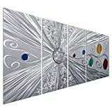 Pure Art Silver Solstice - Metal Wall Art Decor - Abstract Modern Space Silver with Red, Yellow, Green and Blue Circles, Hanging Sculpture - Set of 5 Panels for your Home or Office - 64'' x 24''