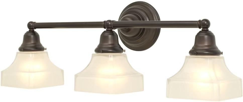 Three Light Craftsman Style Bath Light with Bronze Finish
