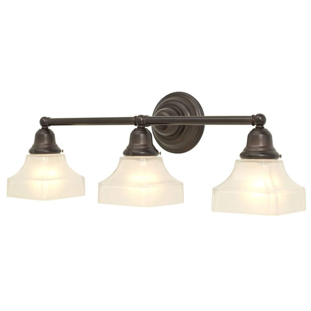 Three Light Craftsman Style Bath Light with Bronze Finish by Design Classics