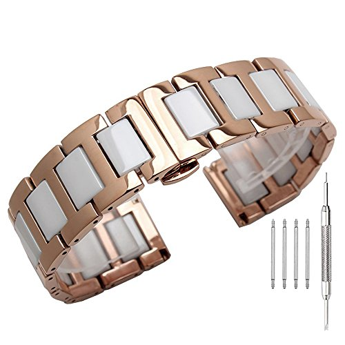 (Rose Gold Stainless Steel & White Ceramic Link Metal Watch Band for Men Watch Strap 22mm w/Butterfly Buckle Deployment Clasp Watch Bracelet)