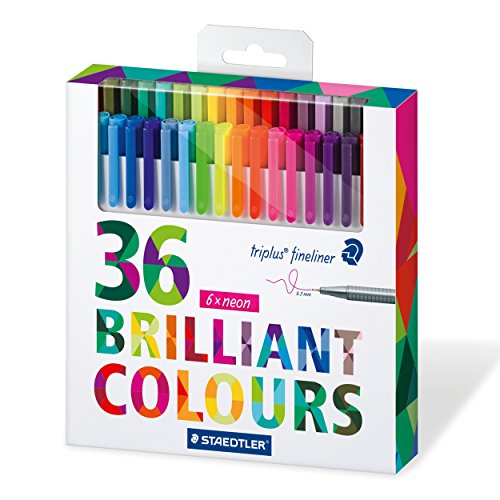 Staedtler 334Fineliner triplus 36pièces, triangulaire, 0,3mm, Avantage Pack couleurs brillantes Pack of 36 coleurs assorties