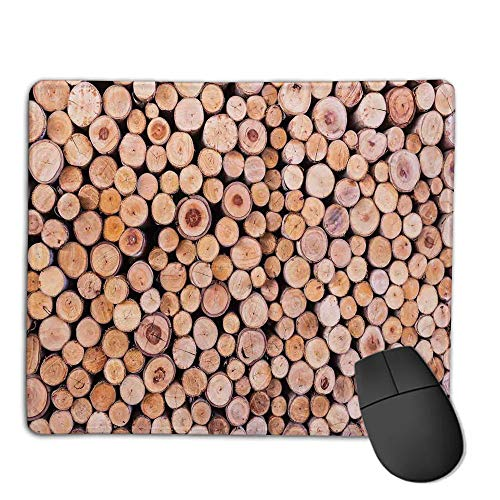 Stack Aluminum Twin (Mouse Pad Custom,Mouse Pad Non-Slip Thick Rubber Large MousepadRustic Home Decor,Mass of Wood Log Forest Tree Industry Group of Cut Lumber Circle Stack Image,Cream,Suitable for Any Mouse Type, Home,)