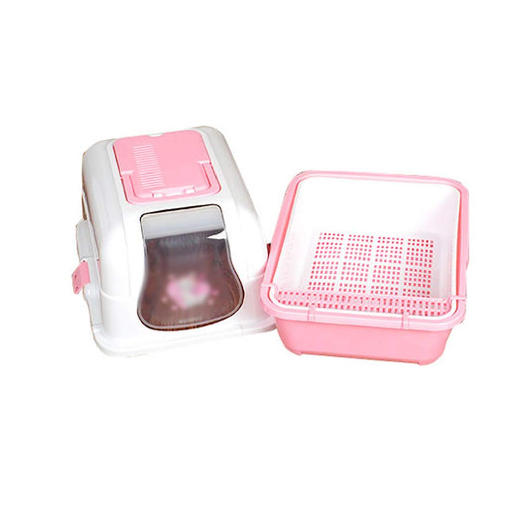 PINK Yuan Pet toilet Cat Litter Pet Toilet Splash Prevention Deodorant Fully Enclosed Double Layer Cat Toilet Drawer Type Deodorized Litter Box Pet Supplies  pet-diapers ( color   PINK )