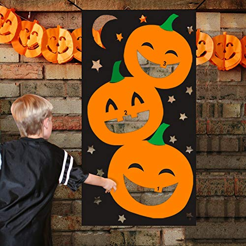 Games For A Preschool Halloween Party (Lulu Home Halloween Toss Games, Pumpkin Bean Bag Party Games for Kids and Decorations with 3 Bean)