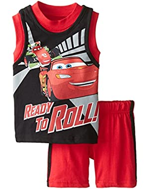 Baby Boys' 2 Piece Cars Ready To Roll Lightning McQueen Jersey Set
