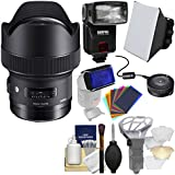Sigma 14mm f/1.8 ART DG HSM Lens with USB Dock + E-TTL II Flash + Soft Box + Bouncer + Flash Gels + Kit for Canon EOS Digital SLR Cameras