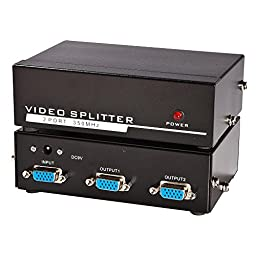 Panlong VGA Splitter 1 In 2 Out Video Amplifier Extender 350MHz 1 PC to 2 Monitors Projectors Supports VGA XGA SVGA UXGA WUXGA (1x2)