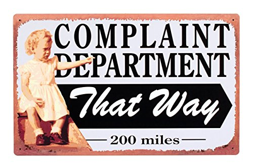 Complaint Department Wall (Distressed Vintage Complaint Department Sign Sarcastic Wall Décor Plaque 16