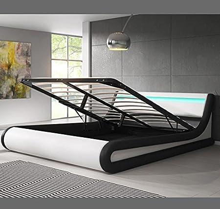 muebles bonitos Cama canapé abatible de Matrimonio Moderna Parisina con somier de láminas para colchón de 140x190cm Blanco Negro diseño Italiano con ...