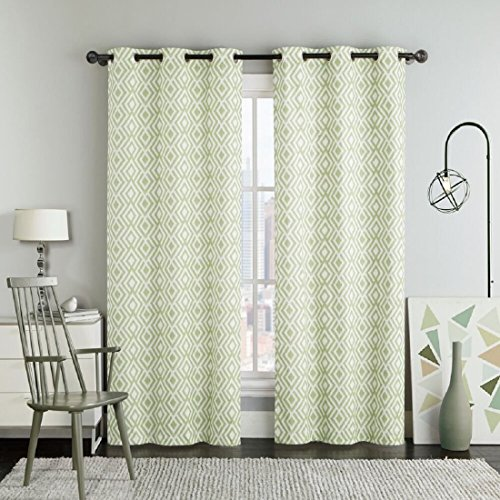 Set of Two Panels 76″Wx84″L Green Justin Ikat Printed Grommet Room Darkening Window Top Curtain Panels made of 100% Polyester. For Sale