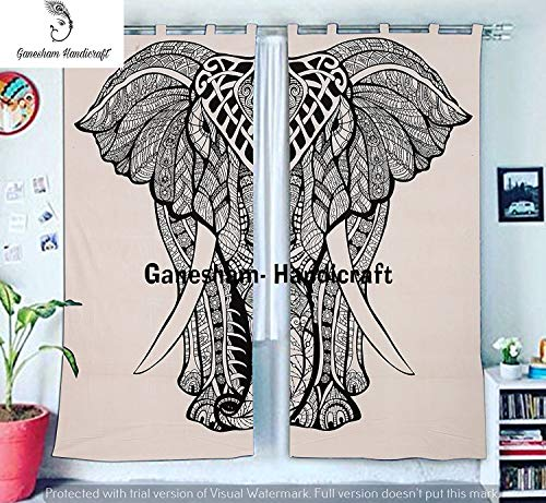 Urban Outfitters Boho Living Room Curtains, For Bedroom, Elephant Tapestry Shower Blackout Curtains, Hippie Balcony Sheer Room Divider Window Treatments & Valances Handmader Mandala Curtain Panel Set