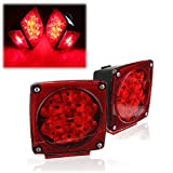 AUDEW 2 x LED Red Submersible Square Trailer Truck Tail Light Lamp Mount