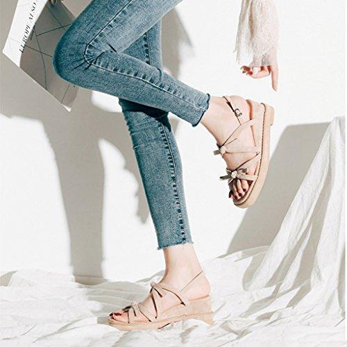 Bow Sweet Cuña Caqui Heels color Plataforma Zapatos High Últimas 37 Mujer Student Sandalias Las Caqui Summer De Tamaño 6cm wqEU6XcI