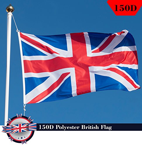 G128 British Union Jack (UK Great Britain) Country Flag 3x5 FT Printed Brass Grommets 150D Polyester Indoor/Outdoor - Much Thicker and More Durable than 100D and 75D Polyester