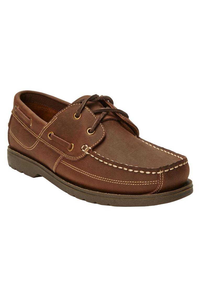 KingSize Men's Big & Tall Hidden Velcro Leather Boat Shoe, Dark Brown 10W