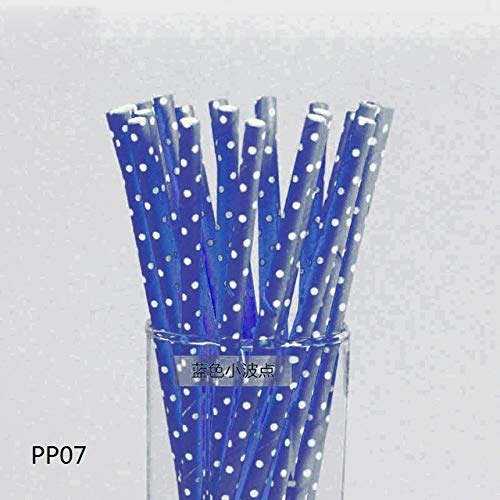 VDV Artificial Flowers 25pcs/lot Colorful Polka Dot Paper Straws for Birthday Wedding Decorative Party Environmental Chevron Creative Drinking Straws Daisy Artificial Flowers-Navy Blue (Desperate Housewives Best Moments)