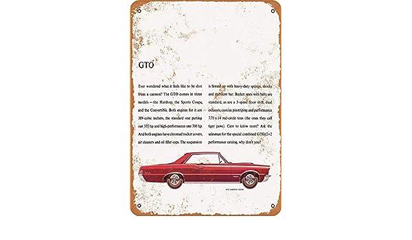 Toddrick 1965 Pontiac GTO - Cartel de hojalata de Estilo Vintage ...