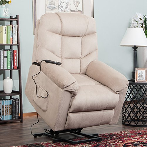 Harper&Bright Designs Power Lift Recliner Chair Soft Fabric Living Room Sofa Chair (Beige (Lift Assist Chair)