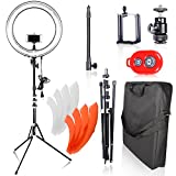 Emart Ring Light Photography Camera, 18 inch 75W Dimmable Circle Fluorescent Flash for Photo Video Studio Kit with Detachable Light Stand, Accessories, Bluetooth Wireless Remote Control for Smartphone