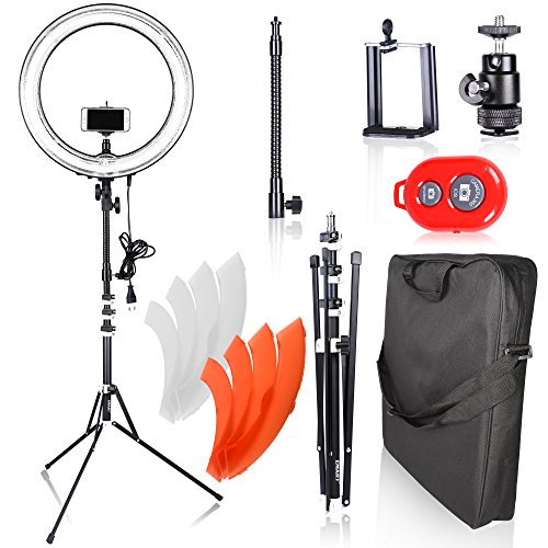 makeup light stand. emart ring light photography camera, 18 inch 75w dimmable circle fluorescent flash for photo video makeup stand