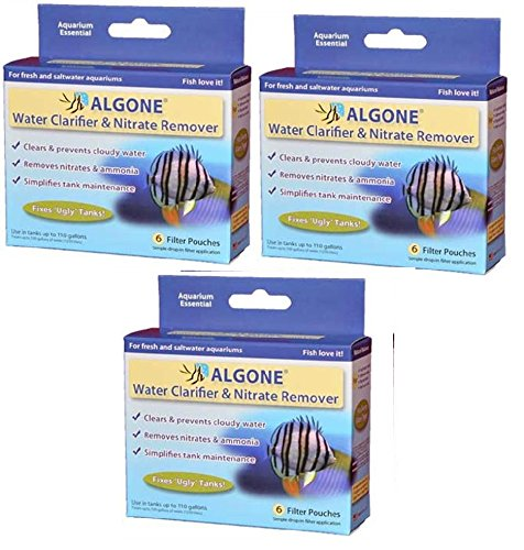 (3 Packs) Large Algone Aquarium Water Clarifier and Nitrate Remover