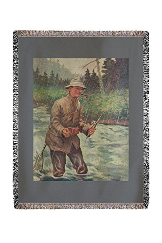 Lantern Press National Sportsman - Fly Fisherman Fishing in The Rain 30017 (60x80 Woven Chenille Yarn Blanket) (Best Fly Fishing In Wv)