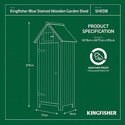 Kingfisher SHEDB Wooden Garden Shed, Blue, 178 x 77 x 51cm