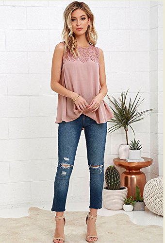 Gyouandme Women Chiffon Lace Sleeveless Shirt Blouse Casual Tank Tops (M, Pink)