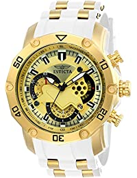 Men's 'Pro Diver' Quartz Stainless Steel and Silicone Casual Watch, Color:White (Model: 23424)
