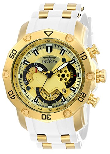 Invicta Men's Pro Diver Stainless Steel Quartz Watch with Silicone Strap, White, 26 (Model: 23424) ()