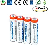 MaximalPower Premium Rechargeable AA Batteries, High Capacity 2600mAh NiMH AA Battery, Ultra AA