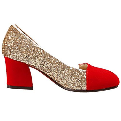 AIYOUMEI Damen Glitzer Blockabsatz Pumps mit 6cm Absatz Bequem Modern Chunky Heel Schuhe