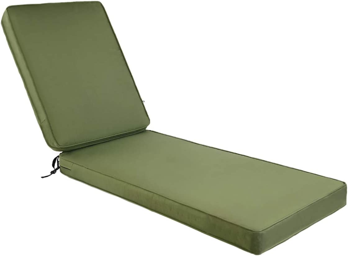 AAAAAcessories Outdoor/Indoor Water-Resistant Chaise Lounge Cushion for Patio Furniture, 72 x 21 x 3 Inch, Green