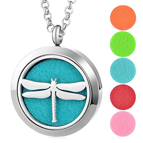 Garden Charms Essential Oils Diffuser Necklace Magnetic Locket 316L Stainless Steel Aromatherapy Diffuser Locket Pendant Jewelry with Free Chains and 5pcs Felt Pads Dragonfly Pattern (Style Dragonfly Pattern)