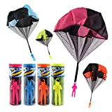 4 Piece Tangle Free Throwing Toy Parachute Man with Large 20'' Parachutes, No Strings No Batteries( Blue, Orange, Pink and Yellow)