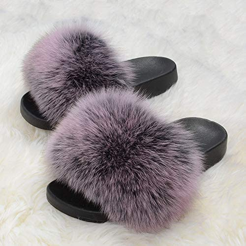 Womens Real Fox Fur Sliders Indoor Outdoor Slides Beach Slippers Sandals Shoes