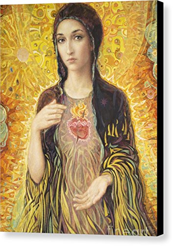 ''Immaculate Heart Of Mary Olmc'' by Smith Catholic Art, Canvas Print Wall Art, 11'' x 14'', Black Gallery Wrap, Glossy Finish by Pixels