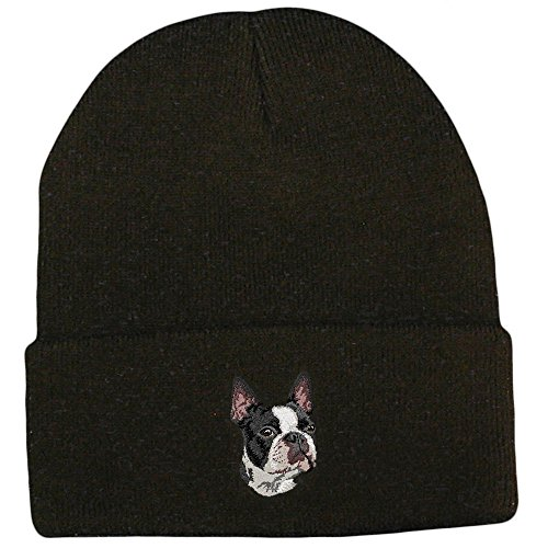 (Cherrybrook Dog Breed Embroidered Ultra Club Classic Knit Beanies - Black - Boston Terrier)