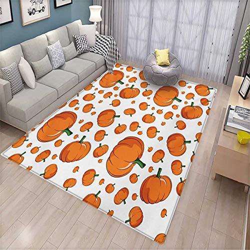 Harvest Floor Mat for Kids Halloween Inspired Pattern Vivid Cartoon Style Plump Pumpkins Vegetable Bath Mat Non Slip 5'x6' Orange Green White