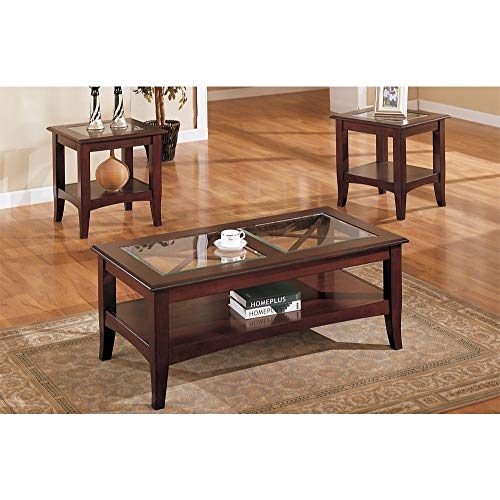 HomeRoots MDF+Birch Veneer+Birch 5M Wooden 3 Piece Table Set with Glass Top in Dark Cherry -