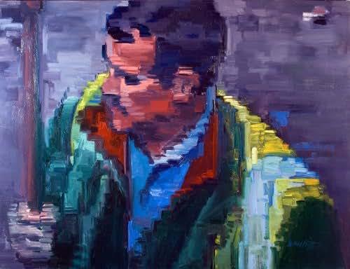 Paris Street Sweeper In Pixel Impressionism