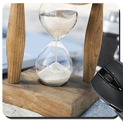 MSD Suqare Mousepad 8x8 Inch Mouse Pads/Mat design 25865582 Vintage hourglass with silver laptop and old camera in the sand at the - Hours Silver Sands