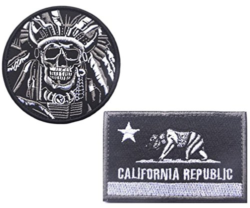 Embroidery Indian Features and CALIFORNIA State Flag Velcro
