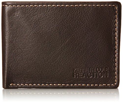 Kenneth Cole Reaction Mens Leather Front Pocket Billfold Wallet  Brown  One Size