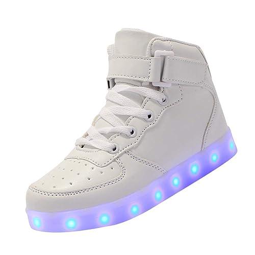 Tenthree Zapatos Deortivos Flashing Zapatillas - Luminoso Intermitente Niño LED Iluminarse USB Cargando Zapatillas de Deporte Cuero Transpirable Informal ...