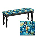 Traditional Farmhouse Style Dining Bench with Black Legs and a Padded Seat Cushion Featuring Your Favorite Novelty Themed Fabric Covered Bench Top (Elvis Blue Hawaii)